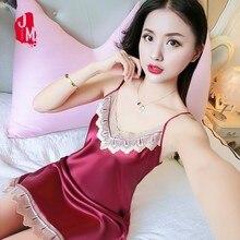 Women Nightdress Silk Summer Sleepwear Strap Sexy Nightwear Satin Lace Nightgown Woman Home Dress Sleep