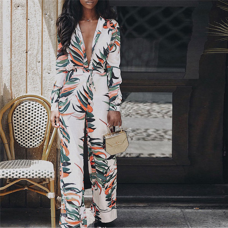 Women Fashion Floral Printed Jumsuit Playsuits Femmes V-neck OL Formal Elegant Bodysuit Party Ladies Jumpsuit Romper Long Pants