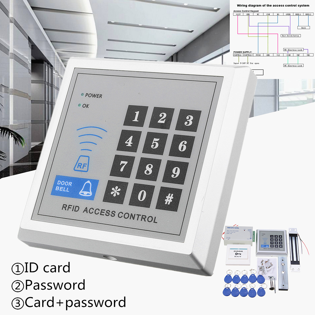 RFID Biometric Fingerprint Access Control Door Lock System Kit Card Reader Keypad+ Electric Magnetic/Bolt/Strike LockRFID Biometric Fingerprint Access Control Door Lock System Kit Card Reader Keypad+ Electric Magnetic/Bolt/Strike Lock