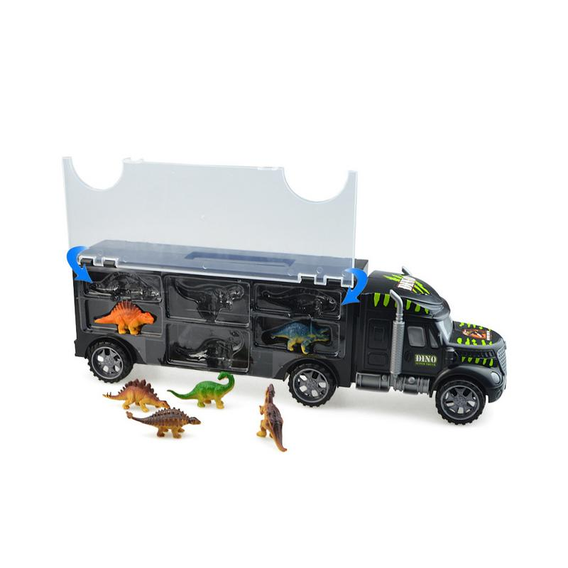 Hot Big Transporter Heavy Truck With Dinosaur Model Portable Container Truck Model Wheels Car Storage Car Boys Toys Gift