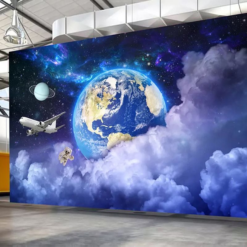 Us 8 63 42 Off Custom Mural Wall Paper Earth Creative Starry Universe Galaxy Planet Background 3d Photo Wallpaper Art Wall Painting Living Room In