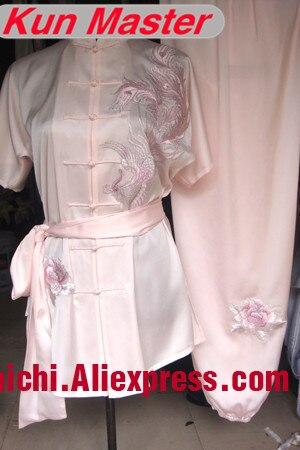 Lady  Short Sleeve  Custom Long Fist Performance Uniform Phoenix Embroidery  Martial Art Clothing For Kung Fu Pink