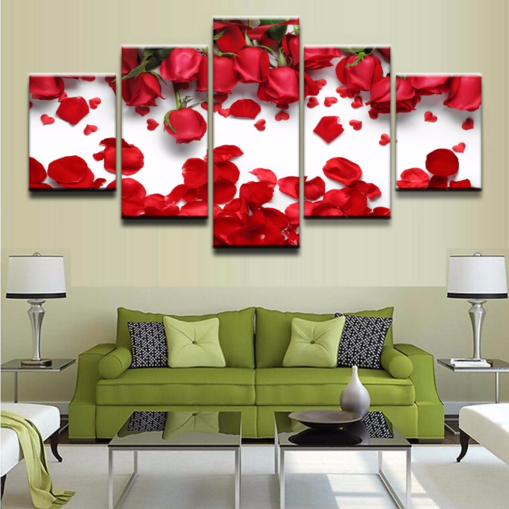 Canvas Wall Art HD Printed Poster Frame Modern Pictures 5 Pieces Rose Flower And Red Petal Painting Home Decor Living Room