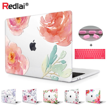 Floral Crystal Clear Print Hard Case For Macbook Pro 13 15 2016 Touch bar Laptop bag Air A1932 Pro Retina 12 13 15 Keyboard Skin