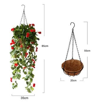 Hanging Baskets Art Wall Hanging Basket Artificial Rose Flower Plant Rattan Home Garden Decor Flower Pot Holder Display Lifting Rope Wall Art Home & Garden