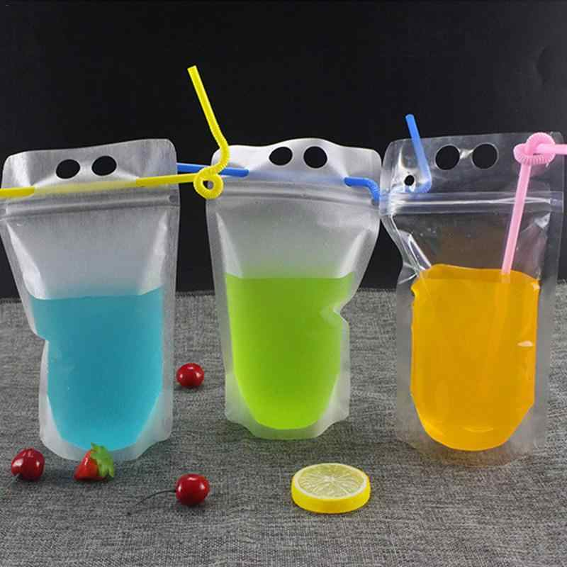 50 PCS Disposable Drink Container Set Transparent Beverage Juice Drink Pouches Bag With Zipper Cold Hot Drinks Cup With Straw