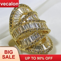 Vecalon Big across Party ring Gold Color 925 sterling silver AAAAA Cz Engagement wedding Band rings for women men Finger Jewelry
