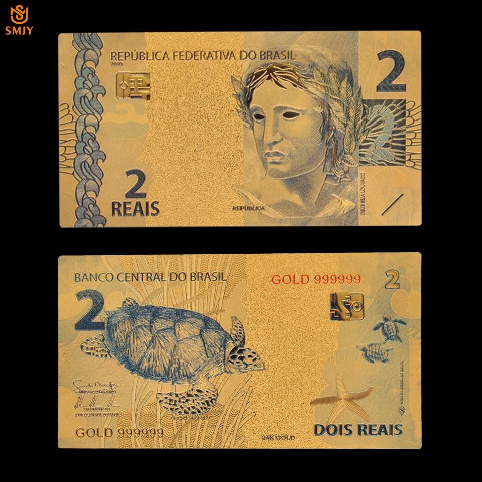 Moeda real da cédula 2 do ouro brasileiro da cor do produto agradável em dinheiro de papel chapeado ouro 24k para a coleção