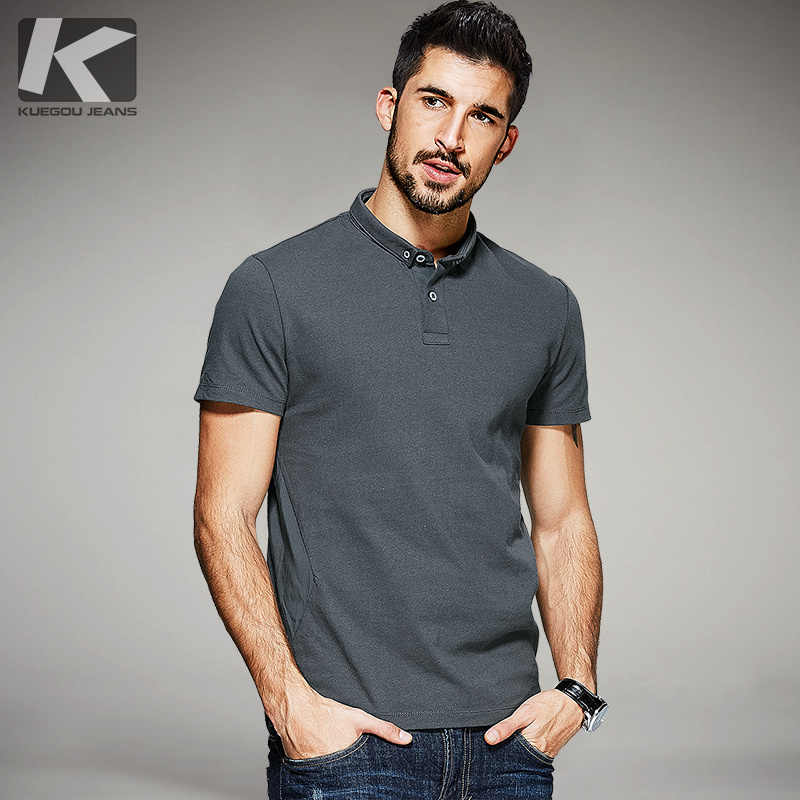 016a94149 New Summer Mens Casual Polo Shirts Patchwork Gray Brand Clothing Man's  Short Sleeve RT-9534