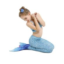 Girls Mermaid Tails Bra Shorts Dress Monofin Swimsuit Cosplay Kids Children Mermaid Tail Swimming Wear Flipper Costume Clothing(China)