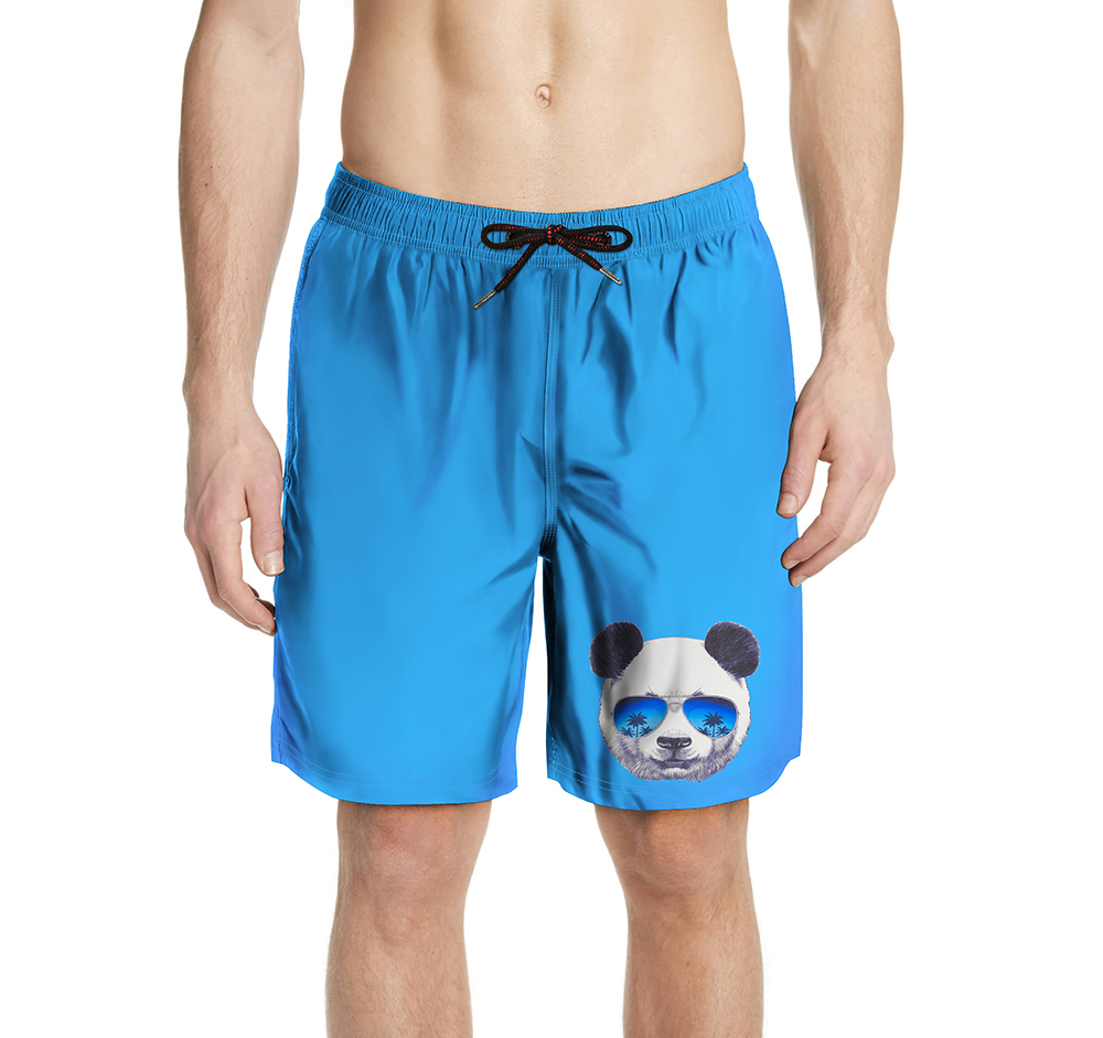 Panda pattern Mens Beach   Board     Shorts   Swimming Swimsuits Running Sports Surffing   short   de bain homme Swimwear Swim   Short   Trunks