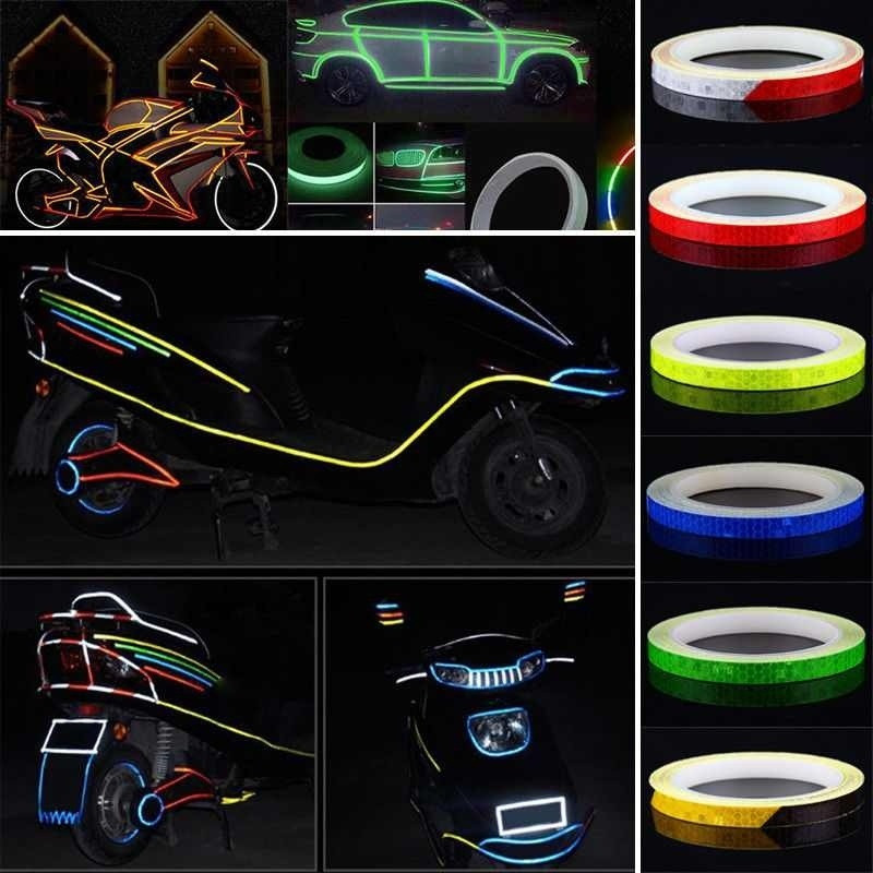 8M X 1CM Bicycle Reflector Fluorescent MTB Bike Bicycle Sticker Cycling Wheel Rim Reflective Stickers Decal Accessories