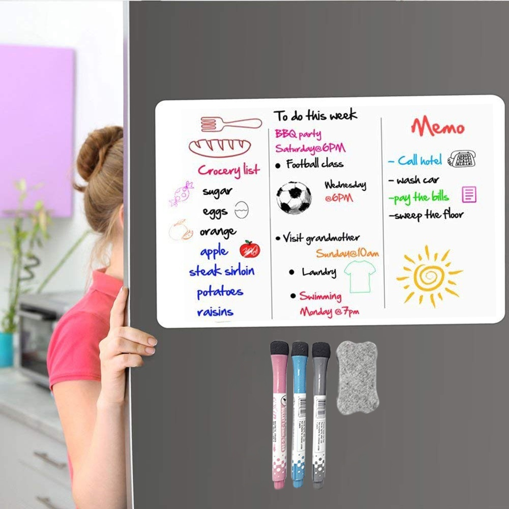 Dry Erase White Board For Fridge - Large Magnetic A3 Whiteboard Message Board. Smart Monthly Planner Chart For Kids Chores