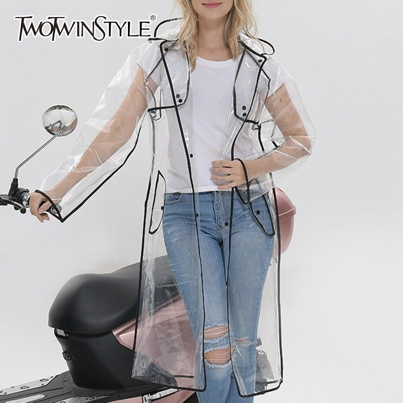 TWOTWINSTYLE Casual Women's Windbreakers Long Sleeve Perspective Hooded Raincoat Female Fashion Clothes 2020 Autumn Tide