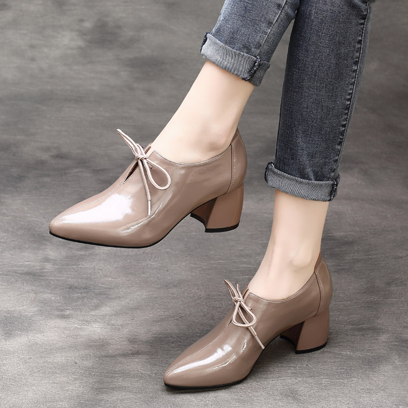 Été Femmes gris Oxfords Chaussures Mocassins Pompes 2019 Hauts R Cm Bout Talons Printemps Noir Pointu 6 Femelle En De Cuir 4qqBS5