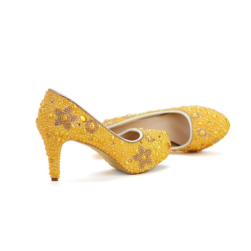 baae422c2a5043 8cm Bag À 14cm Avec Parti With Adulte Assorti Coeur Chaussures Jaune Perle  Femmes Strass yellow ...