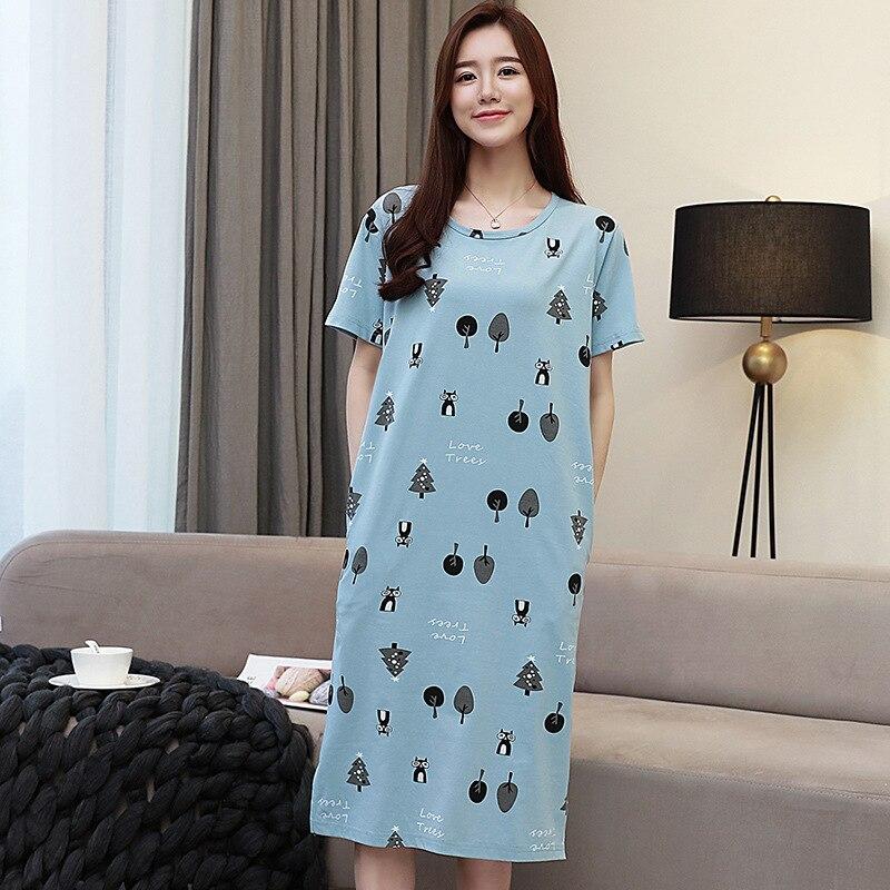 53782766a649 Fdfklak moda nuevos Camisones para mujeres de dibujos animados largos niñas  Camisón de algodón y seda