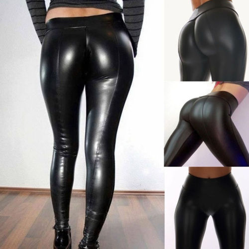 HIRIGIN Women PU Leather Legging Pencil Trousers High Waist Stretch Skinny Shiny Long Pants Price $6.89