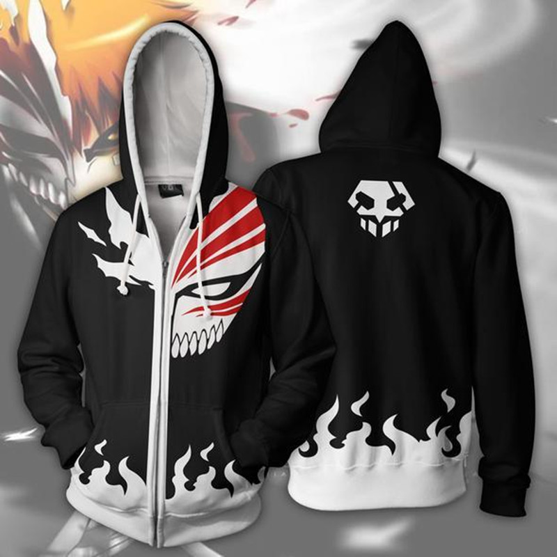 Anime Bleach Men's Hoodie Hooded Coat Zip Up Sweatshirt  Jacket Cosplay Costume