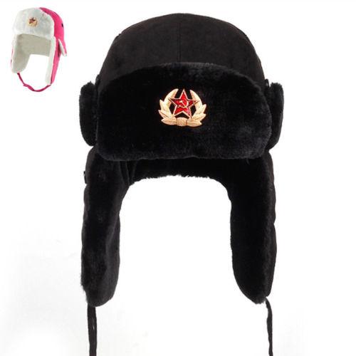aa041740 Russo Ushanka Chapéu Bombardeiro De Couro Dos Homens Do Exército Soldado  Soviético Shearling Inverno Quente ~ Super Deal July 2019