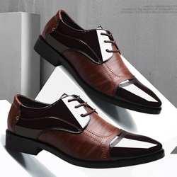 Новые весенне-осенние мужские кожаные туфли в деловом стиле, модные оксфорды, мягкие Повседневные Дышащие мужские туфли на плоской