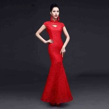 2019 New Lace Sexy Cheongsam Modern Red Bride Long Dresses Women Traditional Chinese Wedding Dress Qipao Orientale Mermaid Gown все цены
