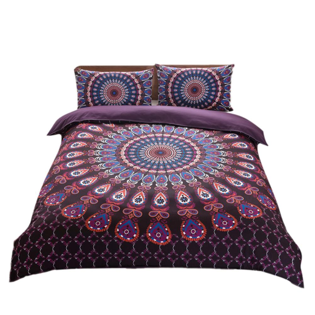 Indian Style Duvet Cover Pillowcase Bohemian Ethnic Style 3D Print Pattern Bed Decoration 3 Pieces SetIndian Style Duvet Cover Pillowcase Bohemian Ethnic Style 3D Print Pattern Bed Decoration 3 Pieces Set