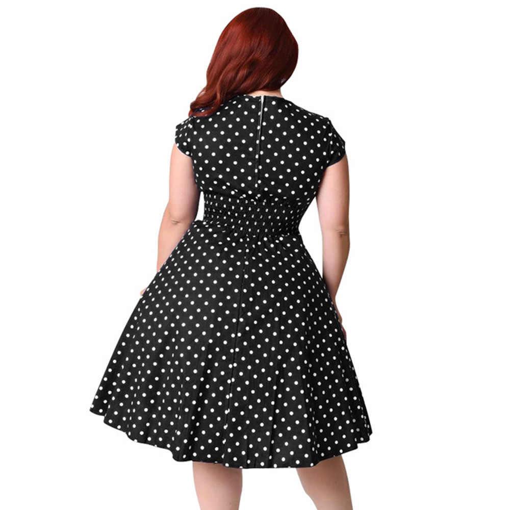 Plus Ukuran 9XL Hepburn Vintage Gaun Wanita Polka Dot Cetak Pin Pesta Gaun V Leher Topi Vintage Lengan Pendek gaun Baru