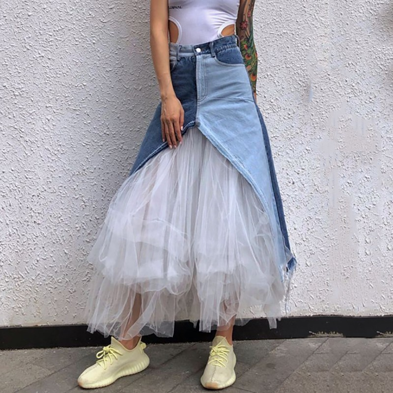 YaLee] New Fashion 2019 Spring Summer Hit Color Pockets Lace up Irregular White Yarn Splicing Denim Half body Skirt Women U225-in Skirts from Women's Clothing    1