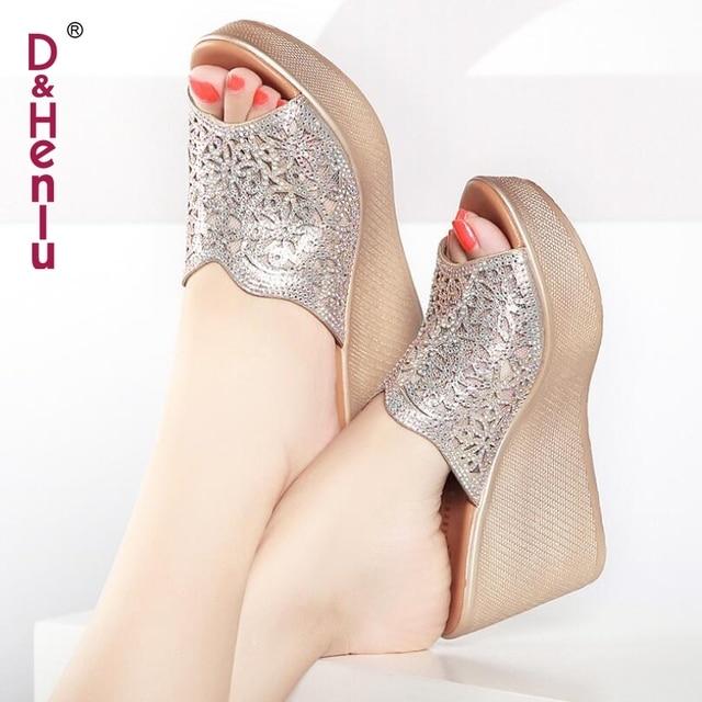 a1233c3d9be  D Henlu  2018 Shoes Woman Slippers Women Summer Shoes Wedges Women Sandals  High Platform Heel Sandals Flip Flops Silver Crystal