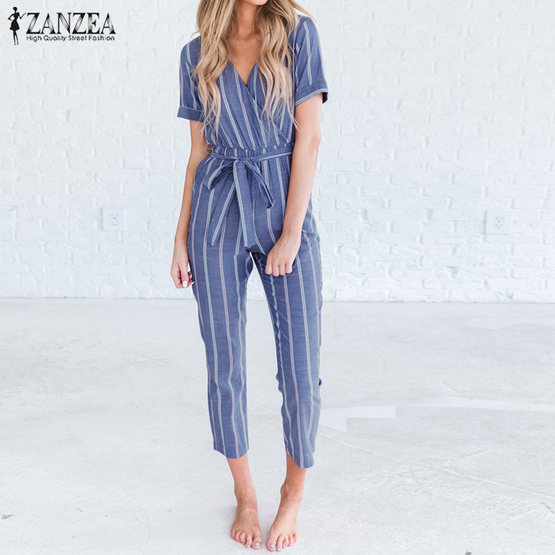 2019 ZANZEA Women Summer V Neck Short Sleeve Striped   Jumpsuits   Cotton Linen Rompers Casual Elegant Office Bow Tie Long Overalls