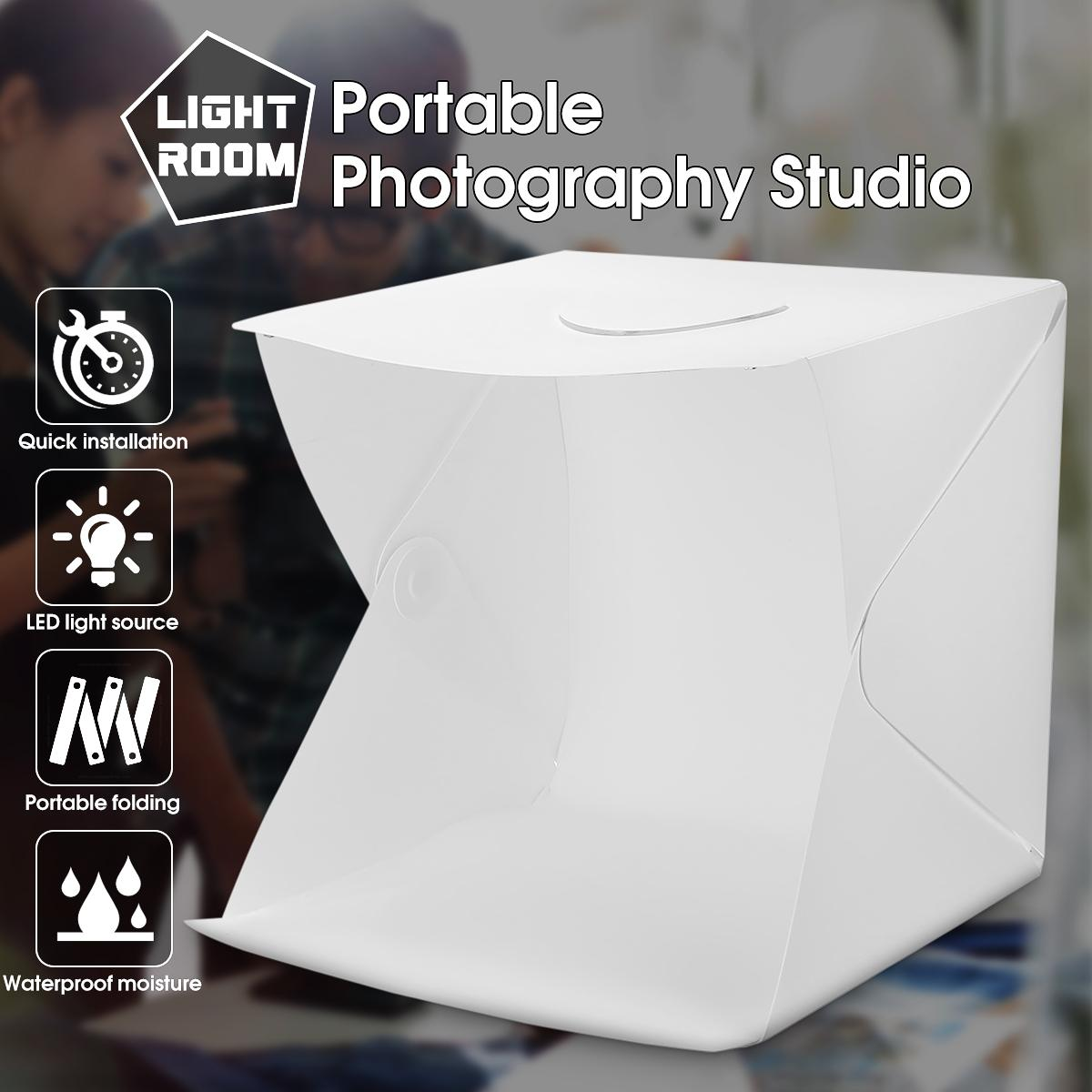 CLAITE 40cm Portable Folding Studio Diffuse Soft Box With LED Light Black White Photography Background Photo Studio Box