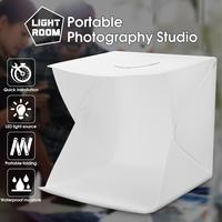 CLAITE 40cm Portable Folding Studio Diffuse Soft Box With LED Light Black White Photography Background Photo Studio Box