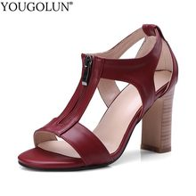 YOUGOLUN Women Zip Gladiator Sandals Handmade Ladies Summer Casual Shoes Sexy Woman Brown Black Burgundy Sandal B067(China)