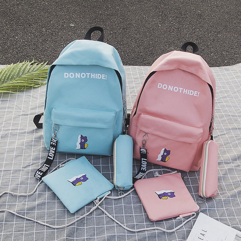 New 3pcs/Set Pretty Backpack Women Canvas Travel Bookbags School Bags For Teenage Girls Travel Bag High Quality Large