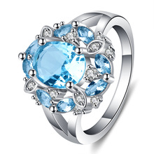 Blue Topaz S925 Sterling Silver Sapphire Rings Anillos De Bague Etoile Ruby Diamond Bizuteria for Charm Women Jewelry 6 7 8 9 10