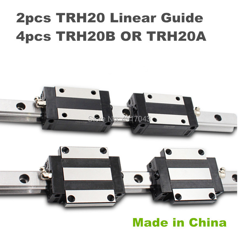 20mm Square Linear Guide Rail 2pcs TRH20  200 300 500 600mm & 4pcs TRH20B or TRH20A Carriages Square Slider Block for CNC Router20mm Square Linear Guide Rail 2pcs TRH20  200 300 500 600mm & 4pcs TRH20B or TRH20A Carriages Square Slider Block for CNC Router