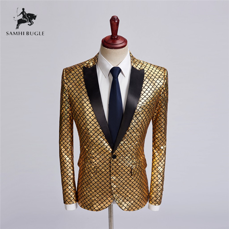 Men Shawl Lapel Blazer Designs Plus Size 5XL British Style Gold Flowers Sequins Suit Jacket DJ Club Stage Singer Clothes