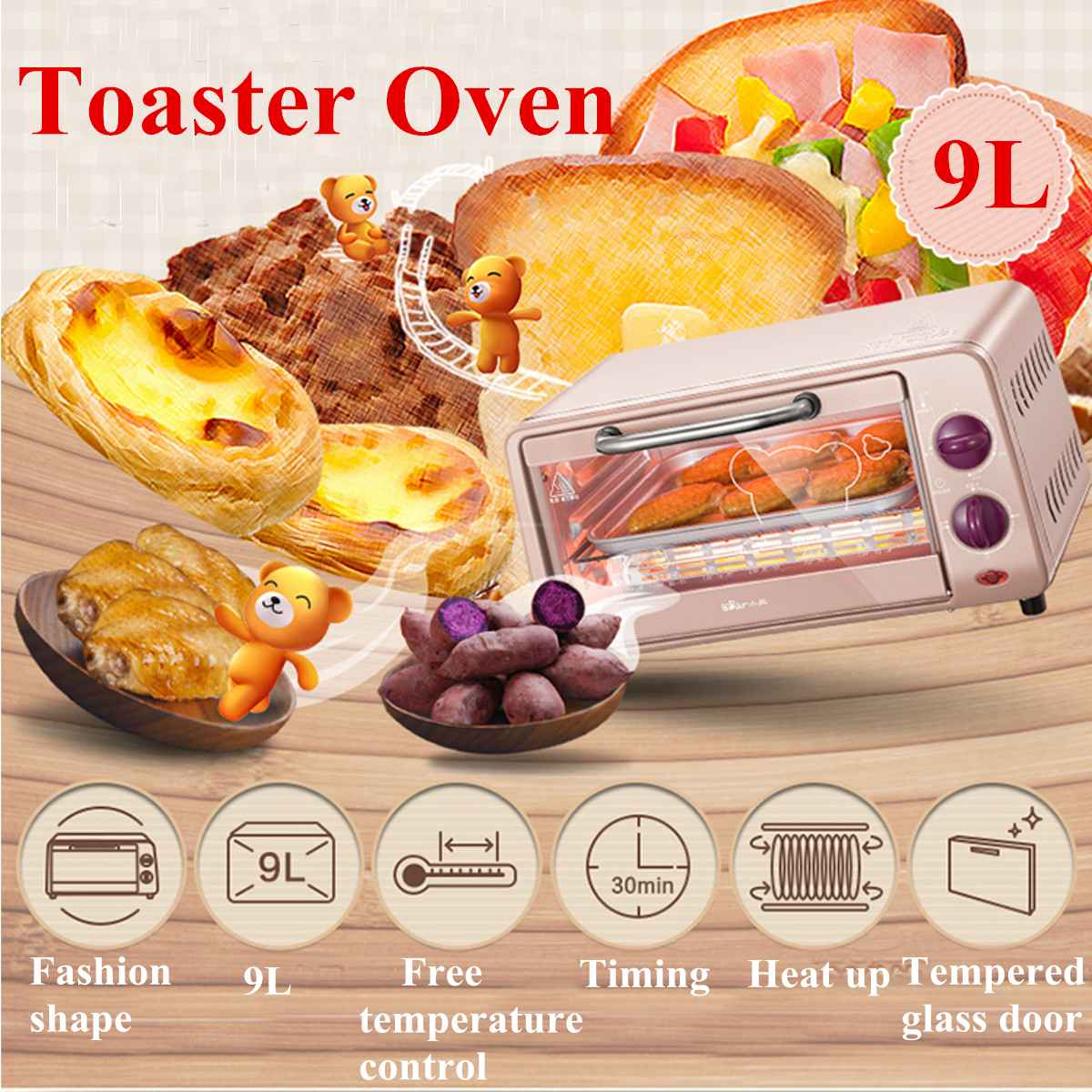 9L Electric Toaster Oven Stainless Steel Broiler Countertop Bake Mini Household Oven Multifunctional Pizza Baking Oven 800W9L Electric Toaster Oven Stainless Steel Broiler Countertop Bake Mini Household Oven Multifunctional Pizza Baking Oven 800W