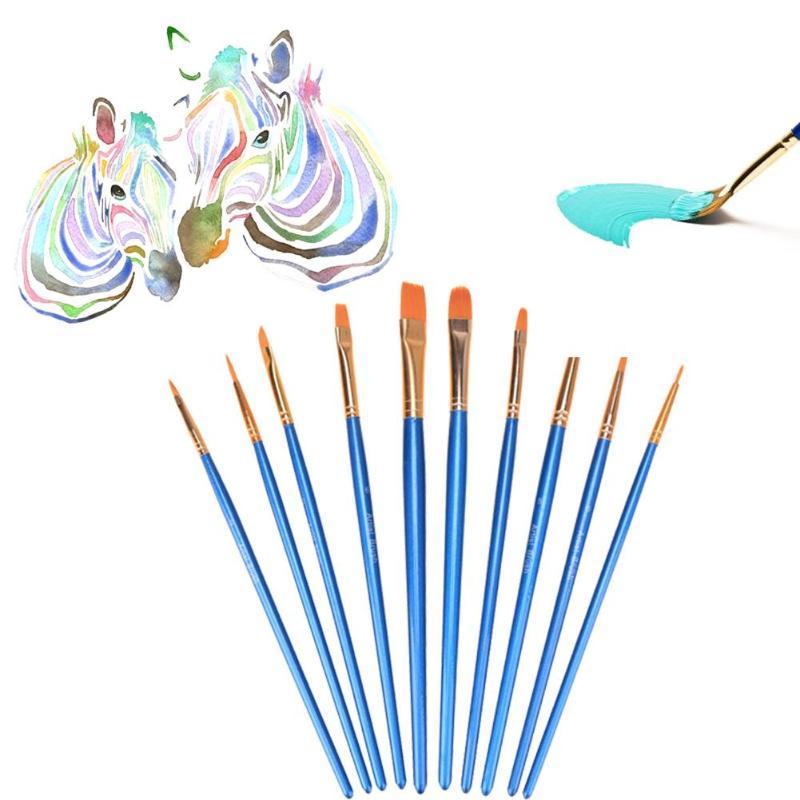 New 10 Pcs//Set Paint Brush Set New Nylon Blue Brush Kid Watercolor Drawing