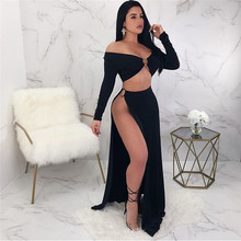 купить 2018 Summer Sexy High Slit Women Metal Ring Decoration Tops  High Slit Skirt Two Piece Sets по цене 846.05 рублей