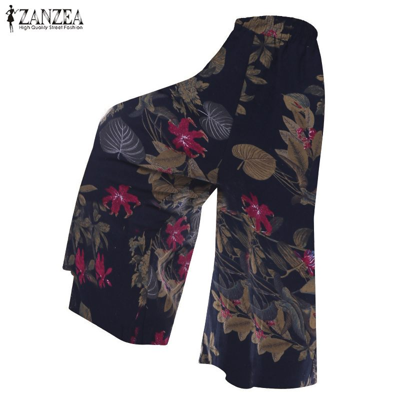 ZANZEA Spring Wide Leg Pants Women Bohemian Floral Printed Elastic Waist Long Trousers Female Casual Cotton Linen Pantalon 2019