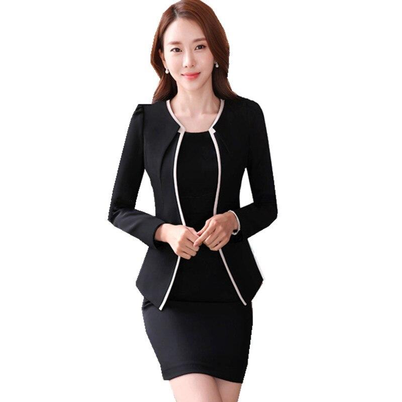 Costume d'affaires formel pour le travail Blazer à manches longues + robe noire à manches courtes 2 pièces costume le Feminino 4XL