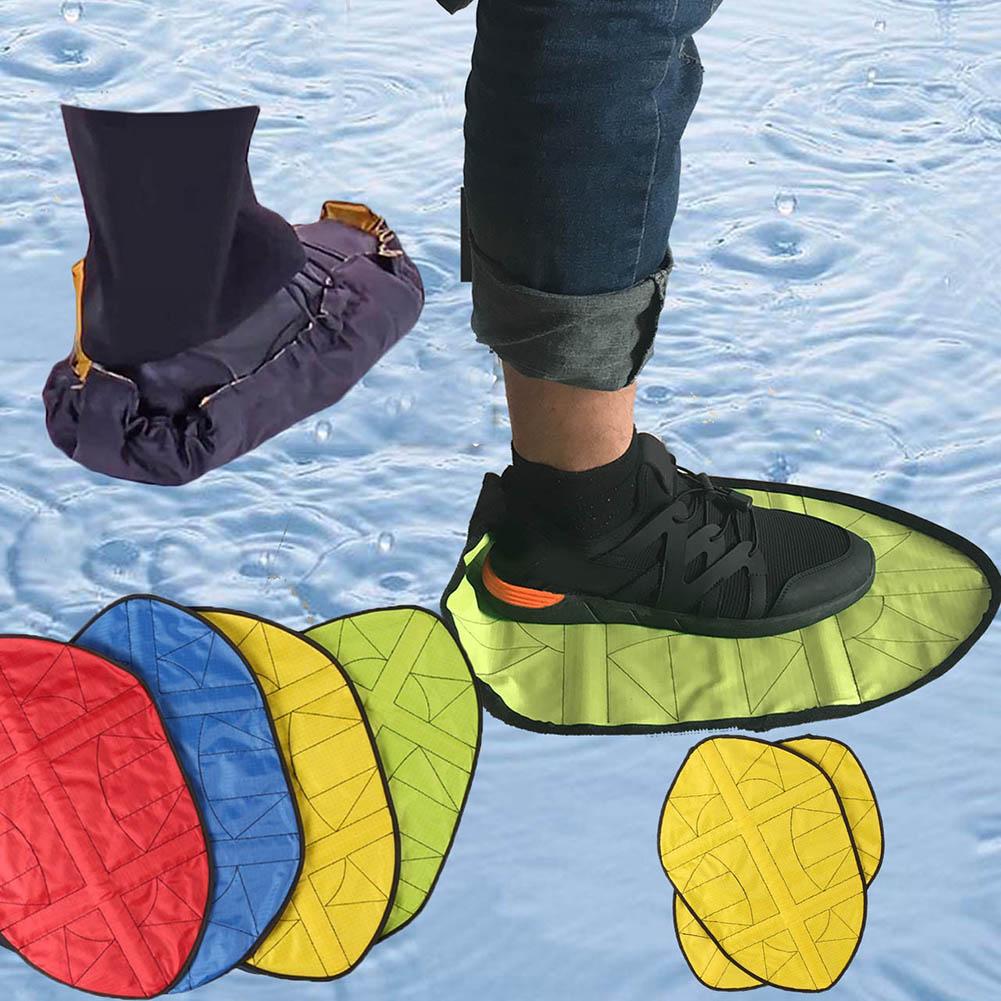 1 par de sapato automático cobre nova etapa na meia sapato reutilizável capa uma etapa mão livre meias sapato cobre durável portátil
