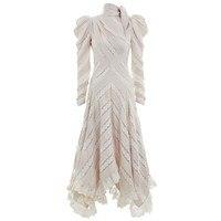 Лоскутное кружевное платье макси Для женщин Puff длинным рукавом Асимметричный Платья для вечеринок женские большие размеры 2018 осень 2018 Ново