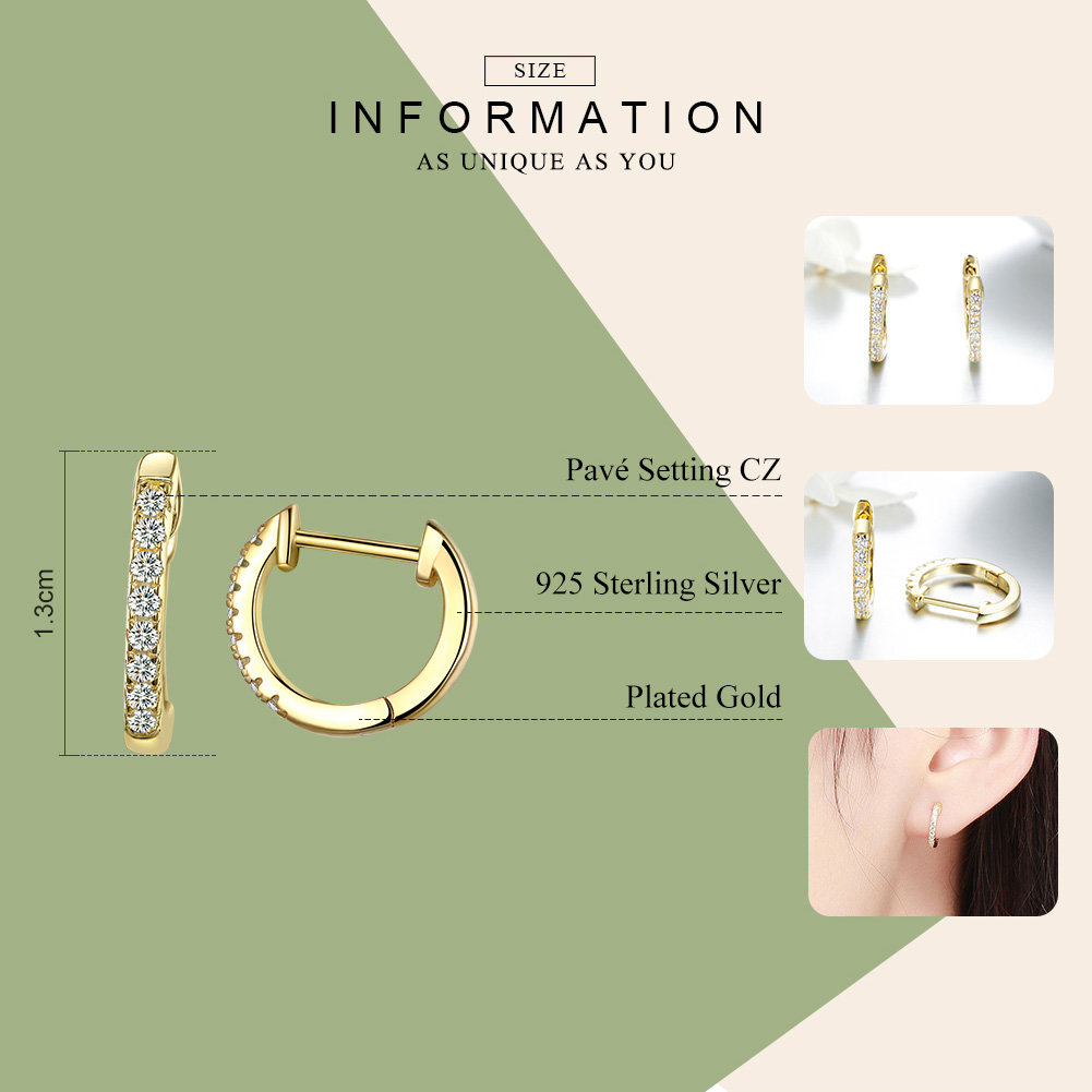 WOSTU Hot Sale 925 Sterling Silver & Gold Color Small Circle Hoop Earrings For Women Birthday Simple Noble Jewelry Gift CQE498 2