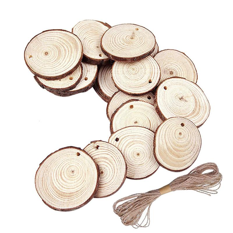 40/50 PCS Christmas Ornaments DIY Creative Small Wood DIY Circles Painting Round Home Decoration 5 6/6 7cm Wood DIY Crafts     - title=