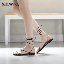 2019 New Summer Roman Womens Shoes Sandals Women Lace-up Flats Outdoor Casual Beach shoes