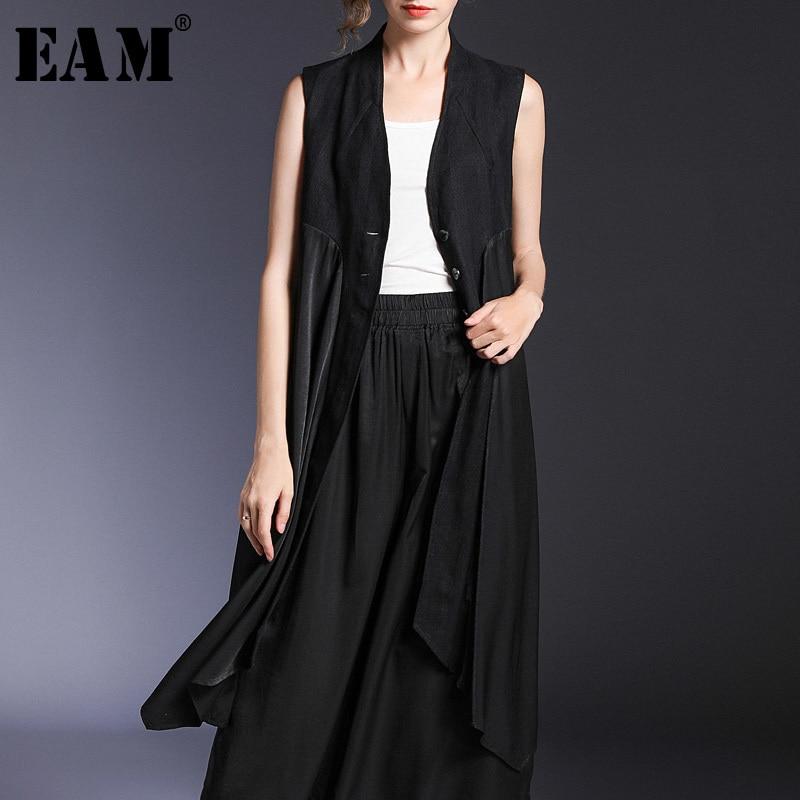 EAM 2019 New Spring Summer V collar Sleeveless Black Loose Irregular Hem Loose Long Vest
