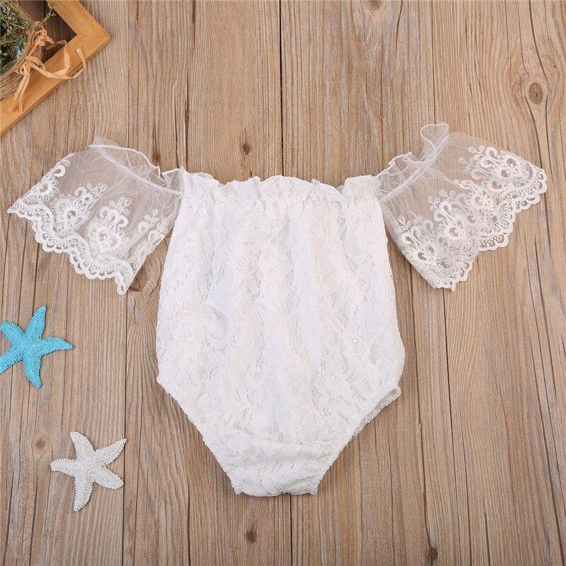 2019  NEW Kid Baby Girls Lace Off Shoulder Romper Bodysuit Jumpsuit Outfits Sunsuit